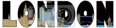 London Skyline Textgliederung Farbe Illustration
