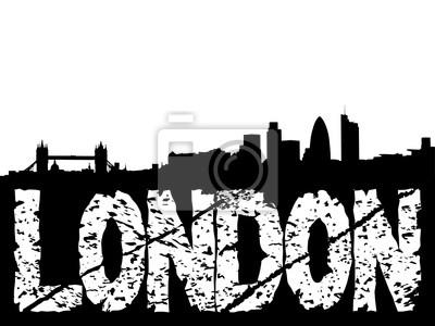London Skyline und Grunge Text Illustration