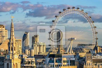 Sticker London skyline with London eye at sunset