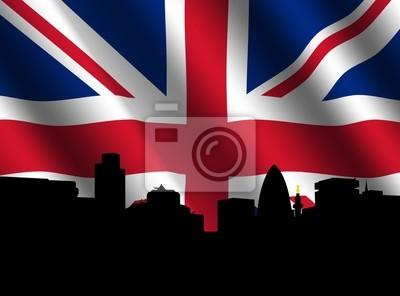 London Skyline with rippled British Flag illustration
