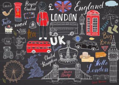 Sticker London Stadt doodles Elemente Sammlung. Hand gezeichnetes Set mit, Turmbrücke, Krone, Big Ben, königlicher Schutz, roter Bus, UK-Karte und Flagge, Teetopf, Beschriftung, Vektor-Illustration auf Tafel
