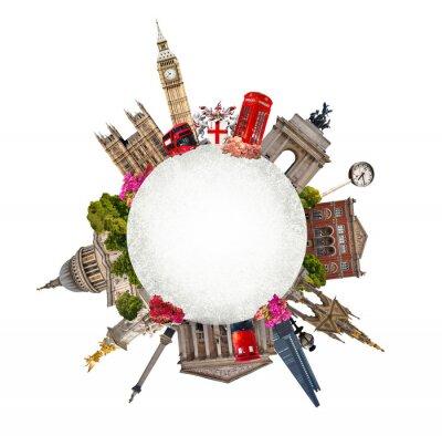 Sticker London. Tourist und Business-Collage, Londons berühmten Gebäuden vor weißem Hintergrund
