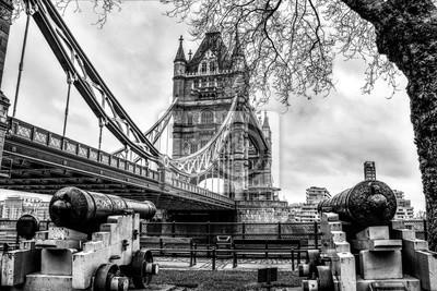 London Tower Bridge in Schwarz und Weiß