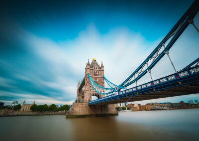 London Tower Bridge long exposure with streaky blue sky