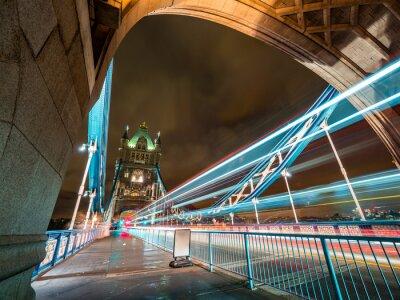 London Tower Bridge night shot with London Bus light trails
