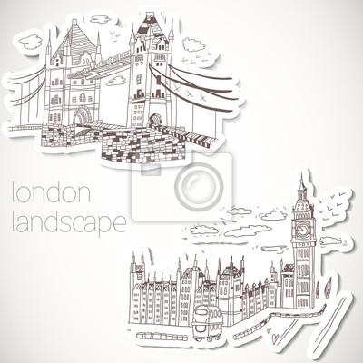 London von Hand gezeichnete Landschaft im Vintage-Stil