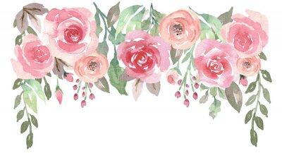 Sticker Lose Aquarell Floral Drop mit Rosen