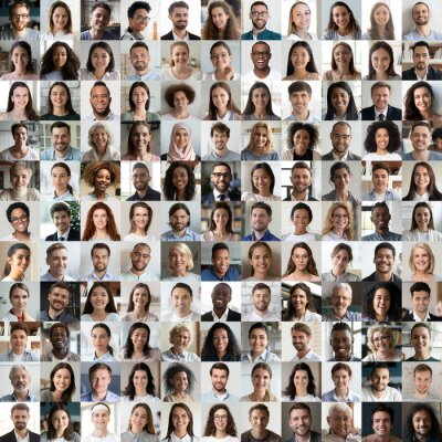 Sticker Lot of happy multiracial people looking at camera in square collage mosaic. Many smiling multiethnic faces of young and old diverse ethnic business people group headshots. Hr, staff, society concept.