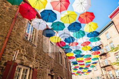 Sticker Lot of Umbrellas in Petit Champlain street Quebec city