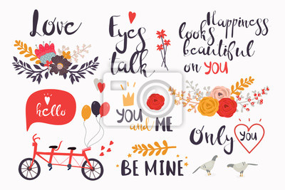 Love quotes and decorative elements. Hand drawn Valentine's day vector collection