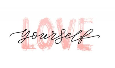 Sticker Love yourself quote. Single word. Modern calligraphy text print Vector illustration black and white. ego