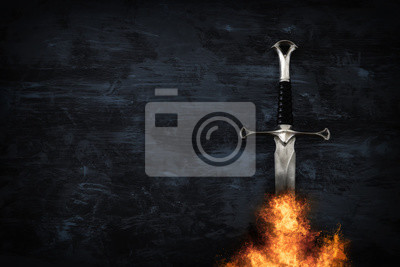 Sticker low key image of silver sword in the flames of fire. fantasy medieval period.