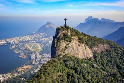 Sticker Luftaufnahme von Christus der Erlöser und Rio de Janeiro Stadt