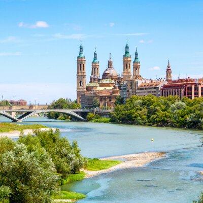 Sticker Luftaufnahme von Saragossa, Spanien mit Basilika
