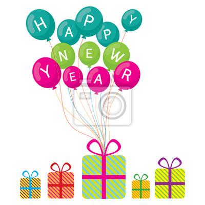 Luftballons mit frohes neues Jahr Text und Geschenkboxen