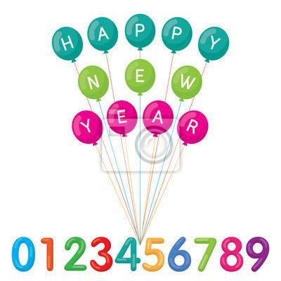Luftballons mit frohes neues Jahr Text und Zahlen