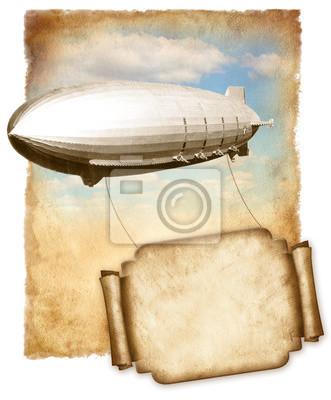 Luftschiff fliegen Banner für Text über alte Papier, Weinlesegraphik.