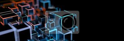Sticker Luminous cuboid as a digital background