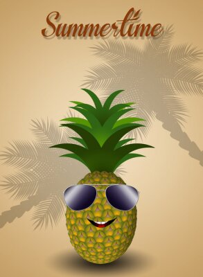 Sticker Lustige Ananas für den Sommer