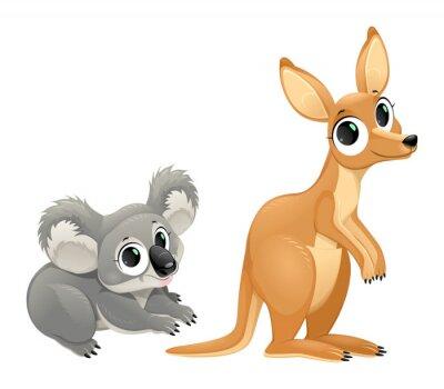 Sticker Lustige Beuteltiere, Koalas und die Känguru-