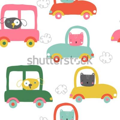 Sticker Lustige Tiere im nahtlosen Muster der Autos. Süße Kinder drucken. Vektor hand gezeichnete Abbildung.