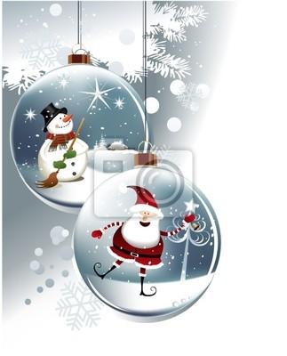 Lustige Weihnachtskugeln.Sticker Lustige Weihnachtskugeln