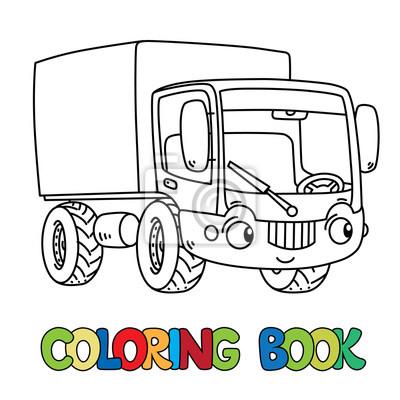 Lustiger kleiner lastwagen mit augen. malbuch notebook-sticker ...