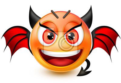 Sticker: Lustiges teufel-ähnliches gesicht emoticon oder 3d rot dämon