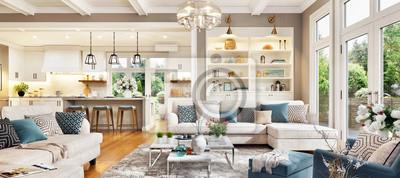 Sticker Luxurious interior design living room and white kitchen. Open plan interior.