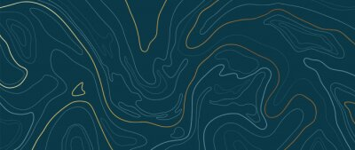 Sticker Luxury gold abstract line art background vector.  Mountain topographic map background with golden lines  texture, 17:9 wallpaper design for wall arts, fabric , packaging , web, banner, app, wallpaper.