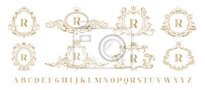 Sticker Luxury monogram. Vintage ornamental decorative monograms, retro luxury golden wreath emblem and baroque heraldic wedding frame. Luxurious whiskey or boutique emblem isolated vector icons set