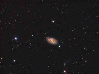 Sticker M109 Galaxy mit einem Teleskop und einer wissenschaftlichen CCD-Kamera abgebildet