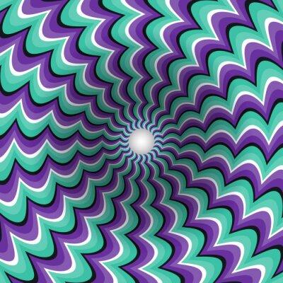 Sticker Mäanderstreifen Trichter. Drehbohrung. Bunte Bewegung Hintergrund. Optische Täuschungabbildung.