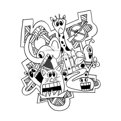 Mad monster animal creative doodle