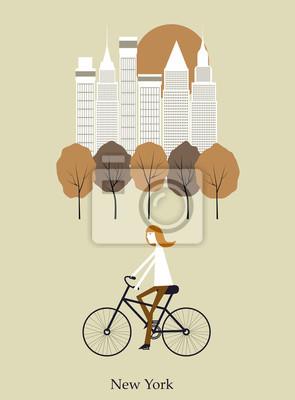 Mädchen auf einem bicykle. Vektor