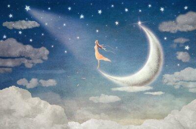 Sticker Mädchen auf Mond bewundert den Nachthimmel - Illustration Kunst