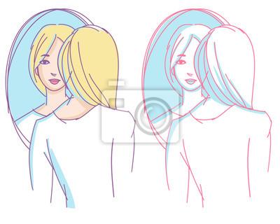 Mädchen stand vor einem Spiegel. Hand gezeichnete einfache Skizze.