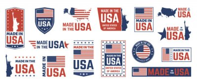Sticker Made in USA label. American flag emblem, patriot proud nation labels icon and united states label stamps vector isolated symbols set. US product stickers, national independence day 4th july badges