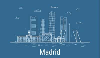 Madrid city, Line Art Vector illustration with all famous buildings. Linear Banner with Showplace. Composition of Modern buildings, Cityscape. Madrid buildings set.