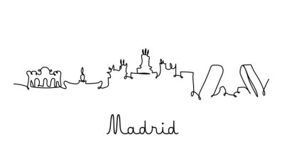 Madrid city skyline in one line style