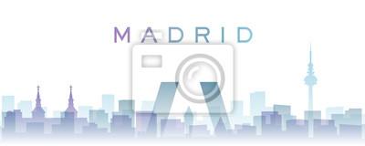 Madrid Transparent Layers Gradient Landmarks Skyline