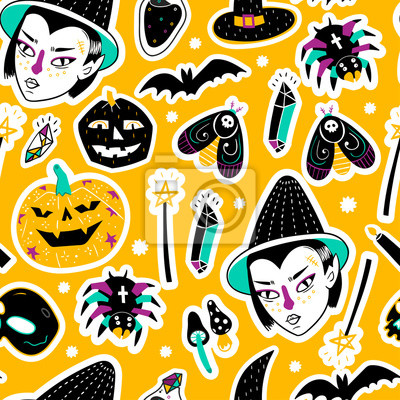 Magic Halloween stickers. Hand drawn vector seamless pattern