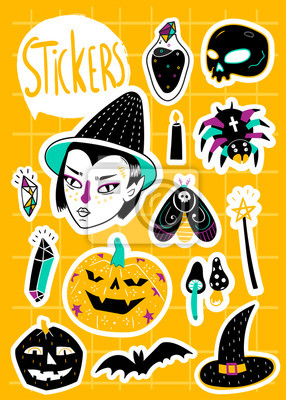 Magic Halloween stickers. Hand drawn vector set. All elements are isolated
