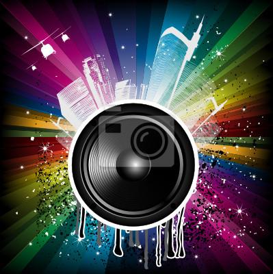 Magic Rainbow Party-Hintergrund mit Lautsprecher und Häuser