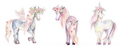 Sticker Magic Unicorn, Pegasus and Pony. Watercolor illustration, beauti