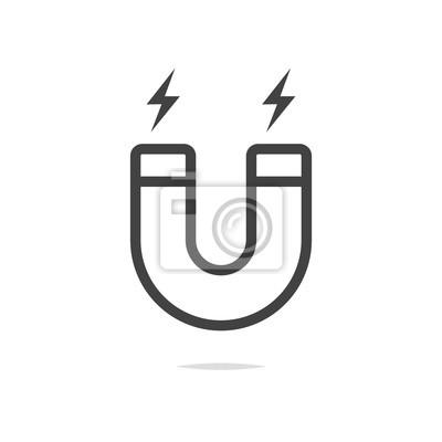 Magnet-symbol vektor notebook-sticker • wandsticker anziehen, Magnet ...