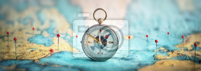 Sticker Magnetic compass  and location marking with a pin on routes on world map. Adventure, discovery, navigation, communication, logistics, geography, transport and travel theme concept background..