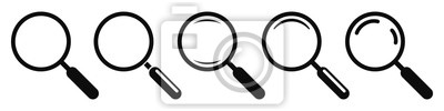 Sticker Magnifying glass instrument set icon, magnifying sign, glass, magnifier or loupe sign, search – stock vector