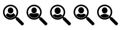 Sticker Magnifying glass looking for people icon, employee search symbol concept, headhunting, staff selection, vector illustration