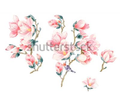Sticker Magnolienblumenillustration